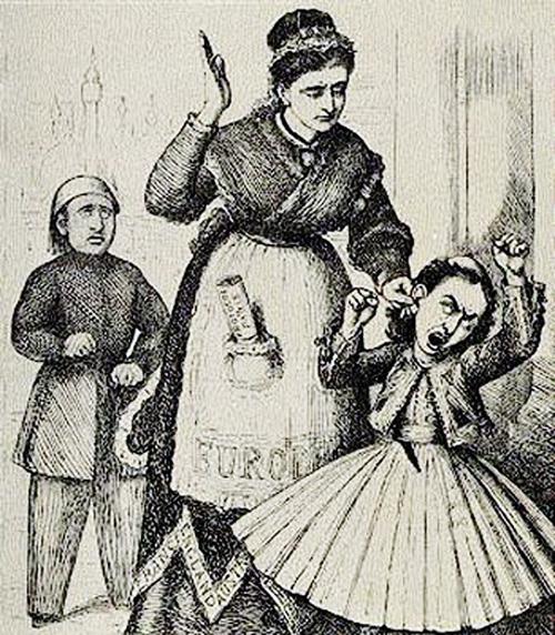 Karikatur aus dem Ende des 19. Jahrhunderts: Mama Europa züchtigt Griechenland, weil es böse zur Türkei war.